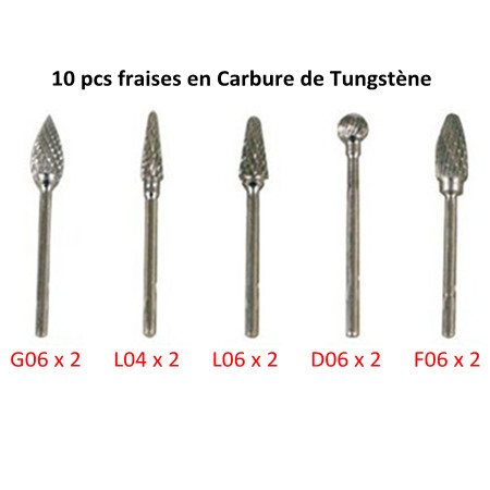 10 pcs Tungsten carbide cutters imported from Switzerland